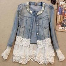 2018 Jeans Jacket Women Casacos Feminino Slim Lace Patchwork Beading Denim Lady Elegant Vintage Coat Jk454