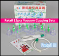 Retail 12 pcs Vacuum Magnetic Cupping Sets Traditional Chinese Medicine Therapy Detox Home Health Care Losing Weight