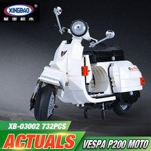 Новый xingbao 03002 732 шт. подлинной творческой техника серии classic vespa p200 moto строительные блоки кирпичи мальчик игрушки модель подарок