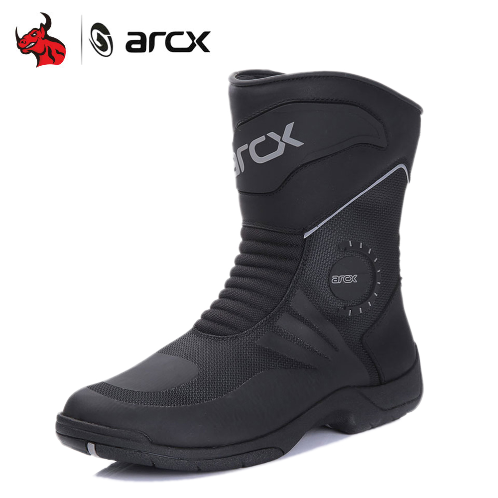 ARCX Motorcycle Boots Genuine Cow Leather Moto Boots Waterproof Motocross Boots Men Motorcycle Racing Mid Calf Shoes Black-in Motocycle Boots from Automobiles & Motorcycles    1