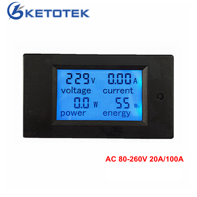 New 4 in 1 meter Voltage Current Power Energy meter Gauge AC 80-260V 20A 100A voltmeter Ammeter Watt Power Meter Free Shipping hp9800 pc usb port 4500w 85v 110v 220v 265v ac 20a electric power energy monitor tester watt meter analyzer with socket output