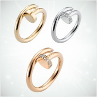 CDA925 sterling silver popular classic charm golden rose gold silver nail shape ring ladies fashion jewelry gifts