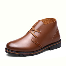 New Autumn Mens Casual Martin Shoes Men's Leather Ankle Boots Western Motorcycle Boots