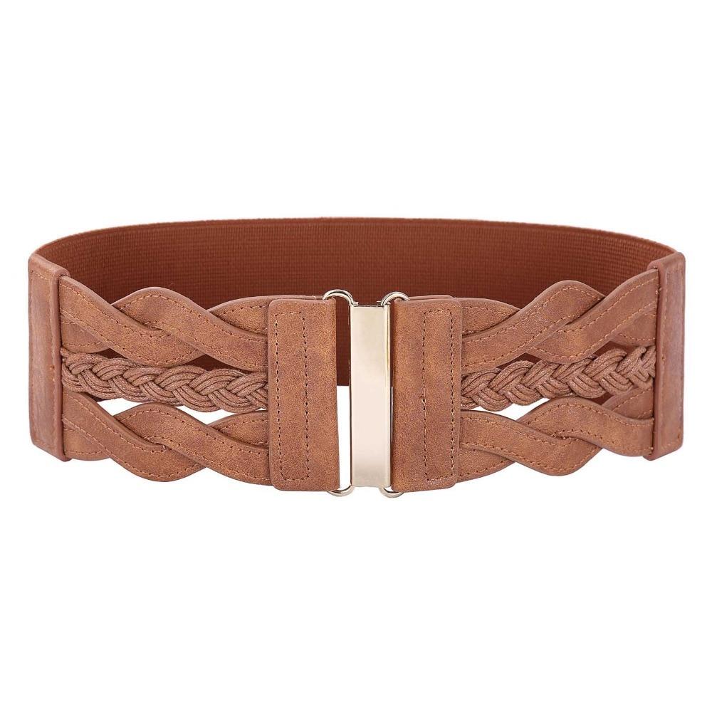 Wide Belts for Women Ladies 2018 Fashion Designer Braided Polyurethane Leather Elastic Waist Belt Waistband Womens Brown Belt