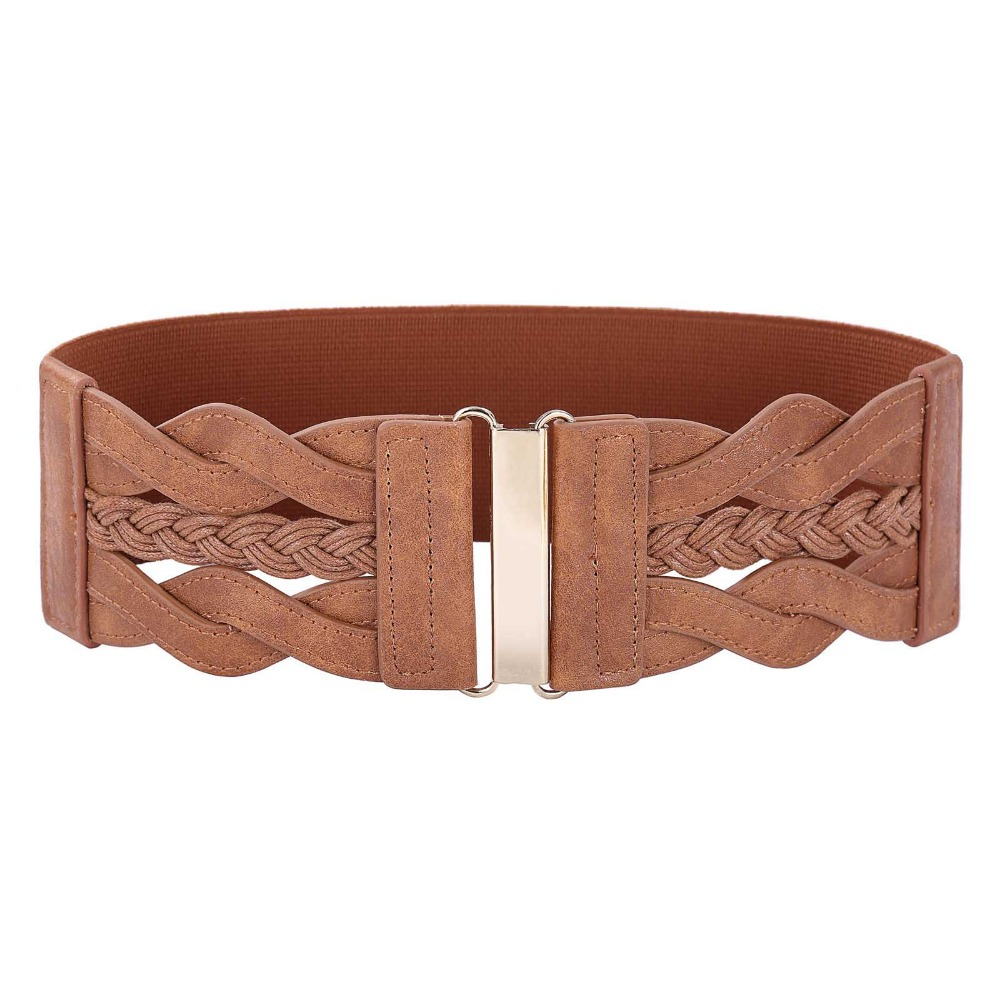 Wide Belts For Women Ladies 2019 Fashion Designer Braided Polyurethane Leather Elastic Waist Belt Waistband Womens Brown Belt