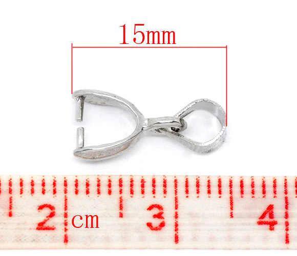 """สังกะสีโลหะผสมจี้ Bails คลิปและจี้เข็มขัดเงินโทน 15 เซนติเมตร (5 7/8 """") x 5 มิลลิเมตร (2/8 """"), 4 ชิ้นใหม่"""
