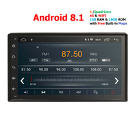 2 din Android 8.1 car audio Auto Radio Quad Core 7Inch Universal Car NO DVD player GPS StereoHead unit for Nssian DAB DVR IPS BT
