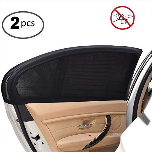 2Pcs Mobil Sun Visor Belakang Sisi Jendela Matahari Naungan Kain Mesh Sun Visor Shade Penutup Pelindung UV Pelindung Hitam auto Kerai Tirai title=