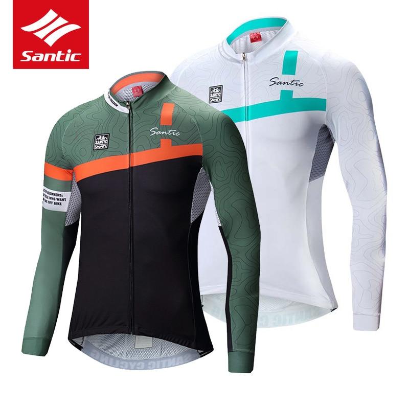Santic Men Cycling Jersey Pro Team Sport Mountain Road Bike Jersey Spring Autumn Long Sleeve Bicycle