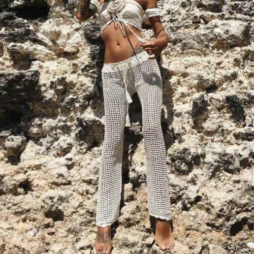 Sıcak Kadın Tığ örme pantolon Katı Hollow Out Bandaj Elastik Düz Rahat Pantolon Tatil Plaj Geniş Bacak Bikini Cover Up