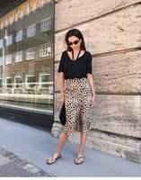 animal print leopard skirt 100% really natural silk long mid calf gold skirt 2018 luxury brand fashion high quality