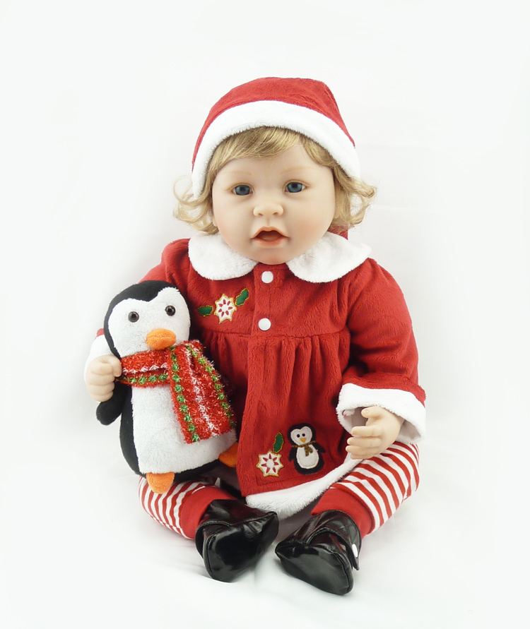 22 inch 55 cm Silicone baby reborn dolls Childrens toys Lovely girl Christmas gift