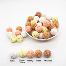 Chenkai 50pcs 16mm 20mm Knitting Crochet Wood Ball Beads DIY baby pacifier Dummy teether Wooden jewelry Sensory Toy Gift цена 2017