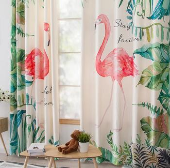 Ins Nordic Digital Printed 3d cartoon flamingo Curtains For Bedroom Window Decoration Modern Style plant Pattern Window Curtain