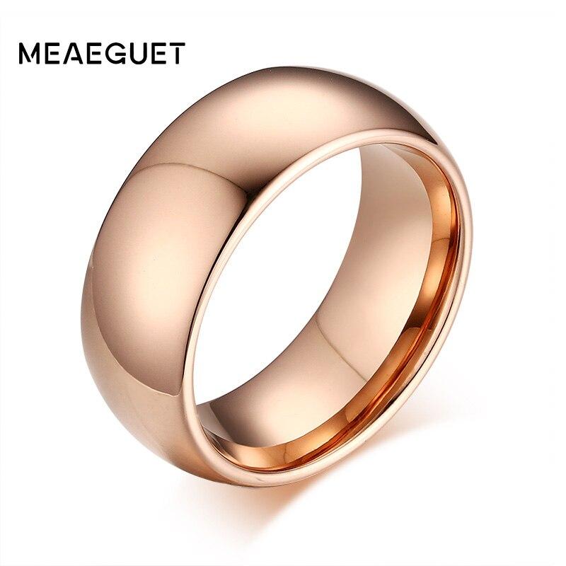 Meaeguet Cor de Rosa de Ouro Tungstênio Anel de Noivado Anéis de Casamento Para As Mulheres Homens Clássico Sólida jóias