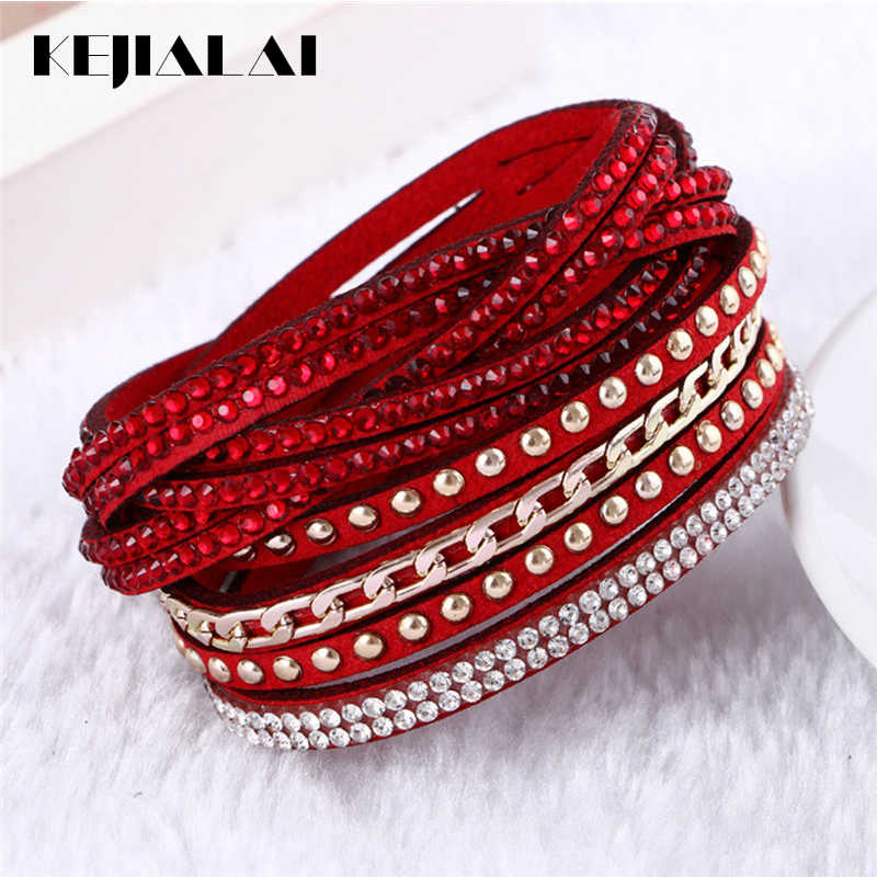 Flannel Multi-color Rows Crystal Rope Chain Bracelet Stone Wrist Strap Women Wrap Bracelets Fashion Jewelry Accessories KJL018