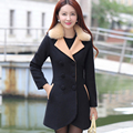 Woman 2016 Winter New Design Slim Long Overcoat Long Sleeve Turn Down Collar Female Winter Coat Show Slim Wool Long Coat