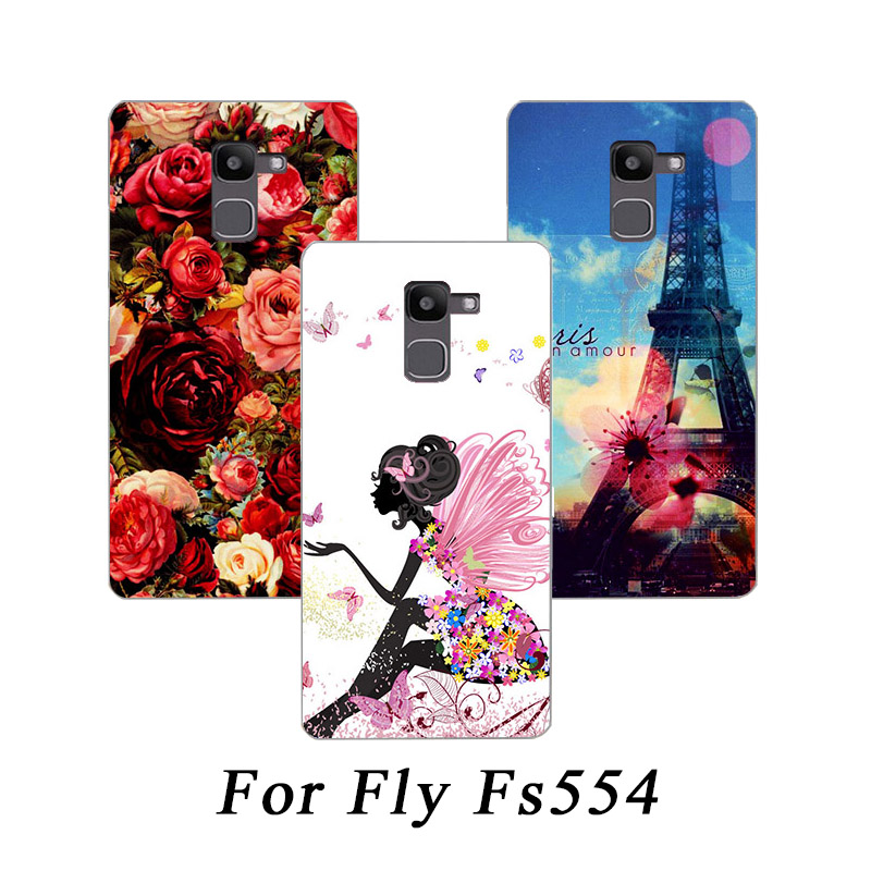 High Quality Painting TPU SOFT Silicone Printed case For Fly FS554 Power Plus FHD DIY colored drawing Phone Covers For Fly FS554 image