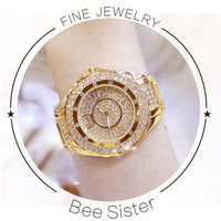 BS Brand Women Fashion Quartz Watch Casual Female Full Rhinestone Dress Clock High Quality Ladies Wristwatches