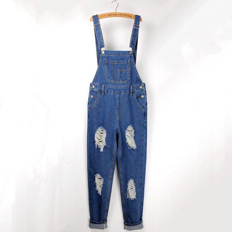 Free Shipping 2016 New Fashion Loose Hole Denim Jeans Plus Size XL Bib Pants Spaghetti Strap Casual Jumpsuit And Rompers Ripped