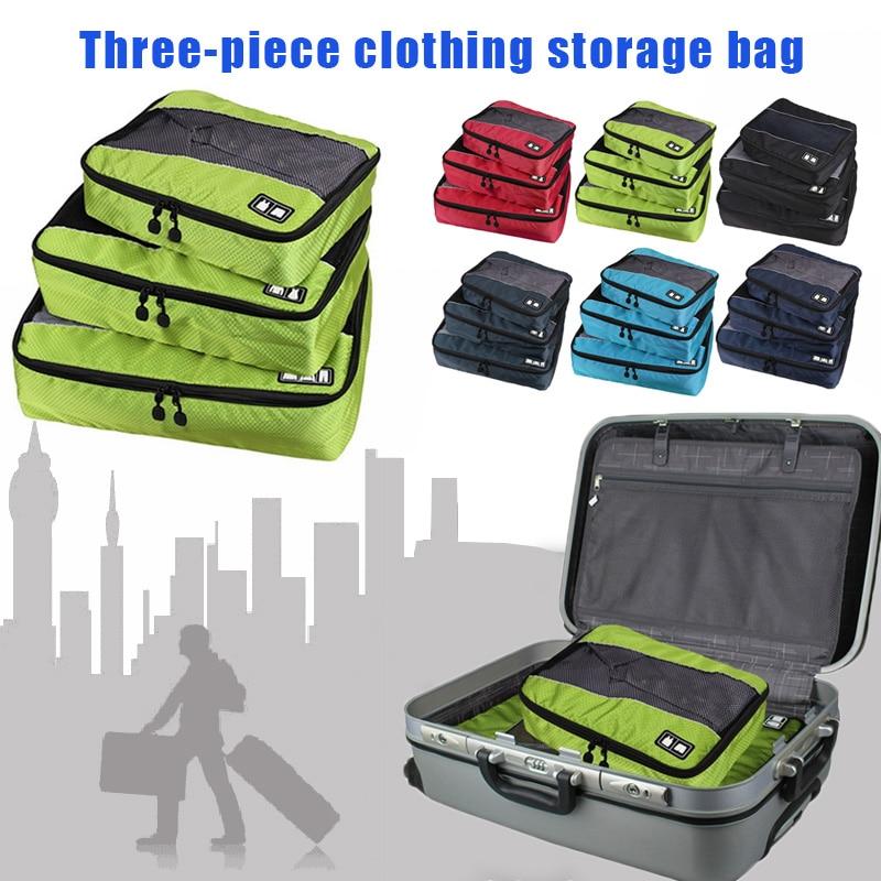 3 pièces/ensemble vêtements emballage Cubes sac de voyage pour chemises pantalon vêtement sacs bagages organisateurs Necessaire