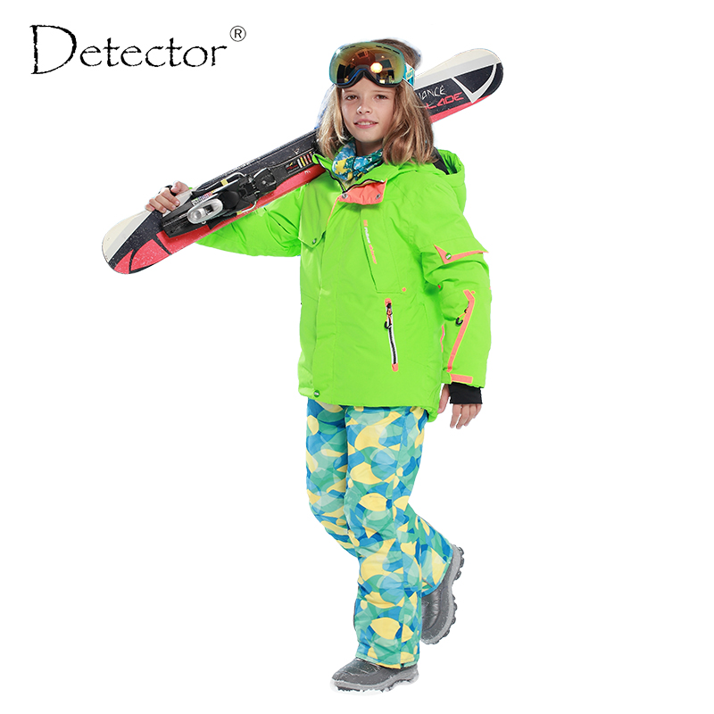 Detector Boys Ski Set Waterproof Windproof Warm Ski Jacket Kids Outdoor Winter Snowboard Suit detector girls ski set children waterproof windproof clothing kids ski set winter warm snowboard outdoor girl ski jacket