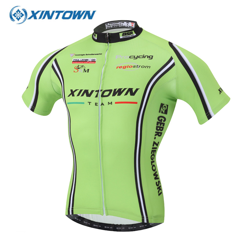 XINTOWN Men 2016 Green Short Sleeve Cycling Jersey Wicking Roupas Ciclismo Maillot Ciclista Equipe Bike Clothing Bicycle Clothes