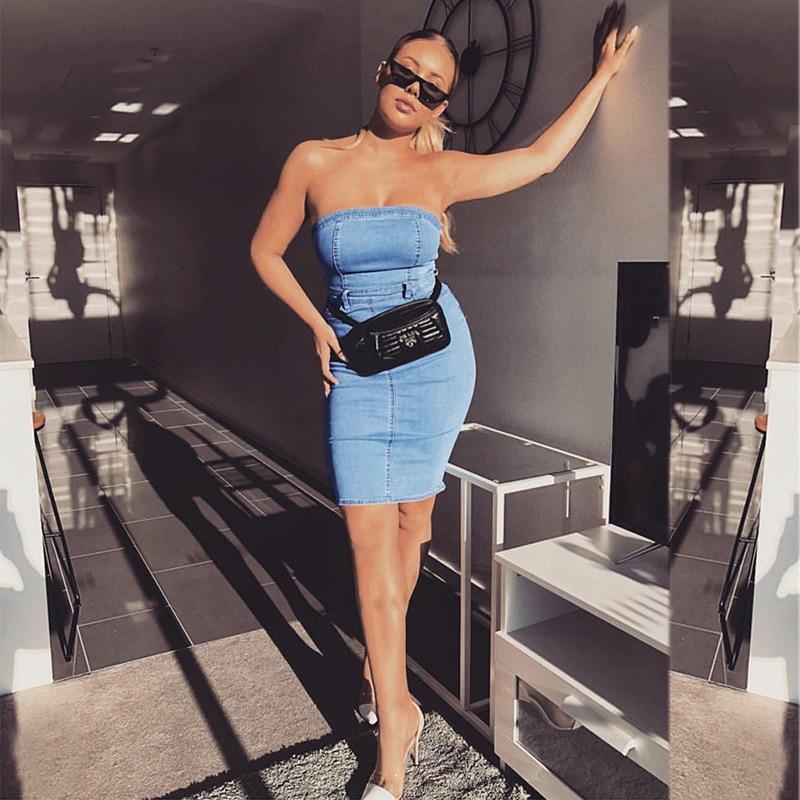 2019 Sexy Strapless Jean Dress Fashion Denim Bandage Pack Hip Dress Slim Elegant Party Night Women Dress Vestidos Robe in Dresses from Women 39 s Clothing