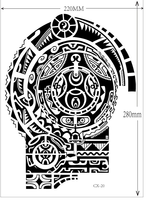 Large Temporary Tattoos Sticker Men Arm lelft Shoulder Fake Tattoo Body Art sticker For Guys Prothorax Twinset 3d Fake Taty 1