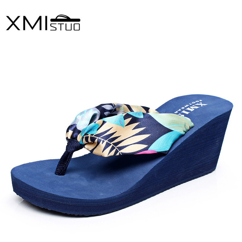 XMISTUO Women Silk Flip Flops Female Summer Beach Wedges Satin Slippers Water resistant 7CM High heeled Slippers 6 Color XMC030 in Flip Flops from Shoes