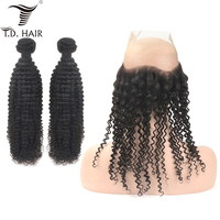 tdhair Kinky Curly Pre Plucked 360 Lace Frontal Closure With Bundles 100% Human Hair Bundles with closure