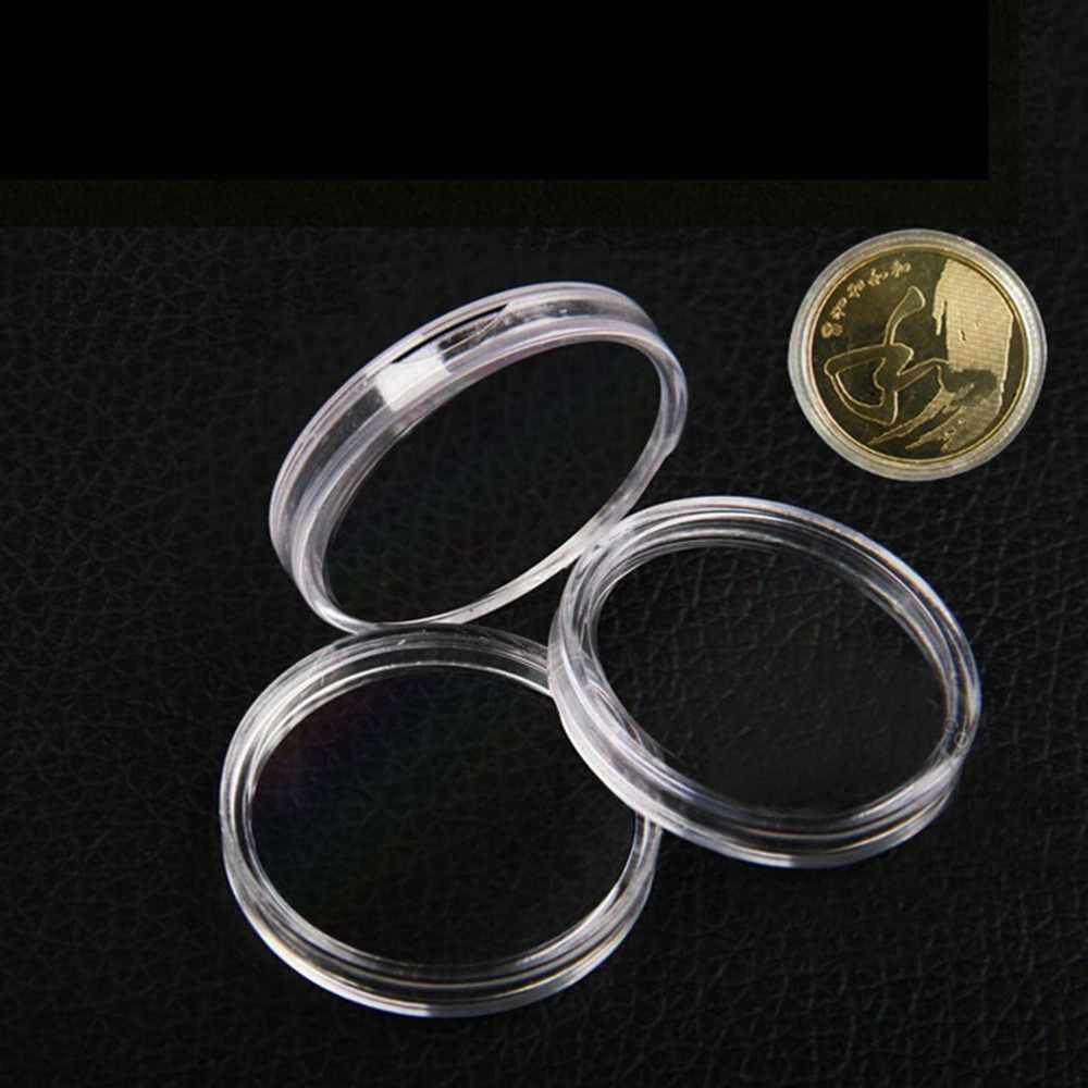 10 unids/lote 27mm Soporte redondo transparente para monedas cápsulas cajas almacenamiento anillo cajas de plástico