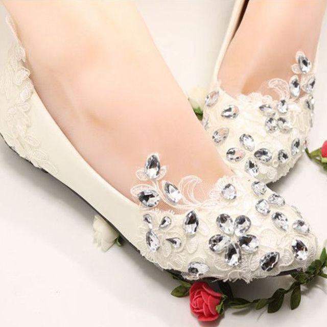 Lace Crystal Silver Rhinestones Wedding Flats Shoes Woman Handmade Bridal Flat Heel Shoe