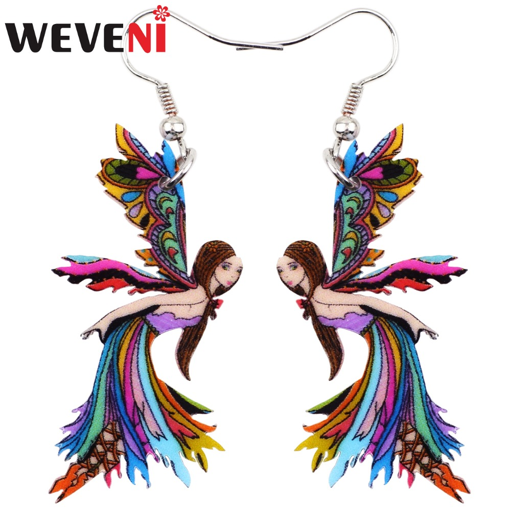 WEVENI Big Long News Acrylic Drop Dangle Angle Fairy Funny Cute Earrings Style Fashion J ...