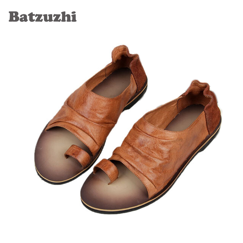 2018 Summer New Leather Sandals Men Leather Slippers Mens Casual Shoes Casual Leather Beach Shoes Men Summer Zapatos Hombre