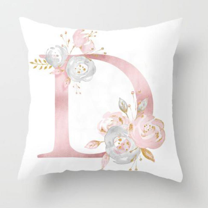 Декоративная подушка 45x45 см с розовыми буквами + чехол подушки