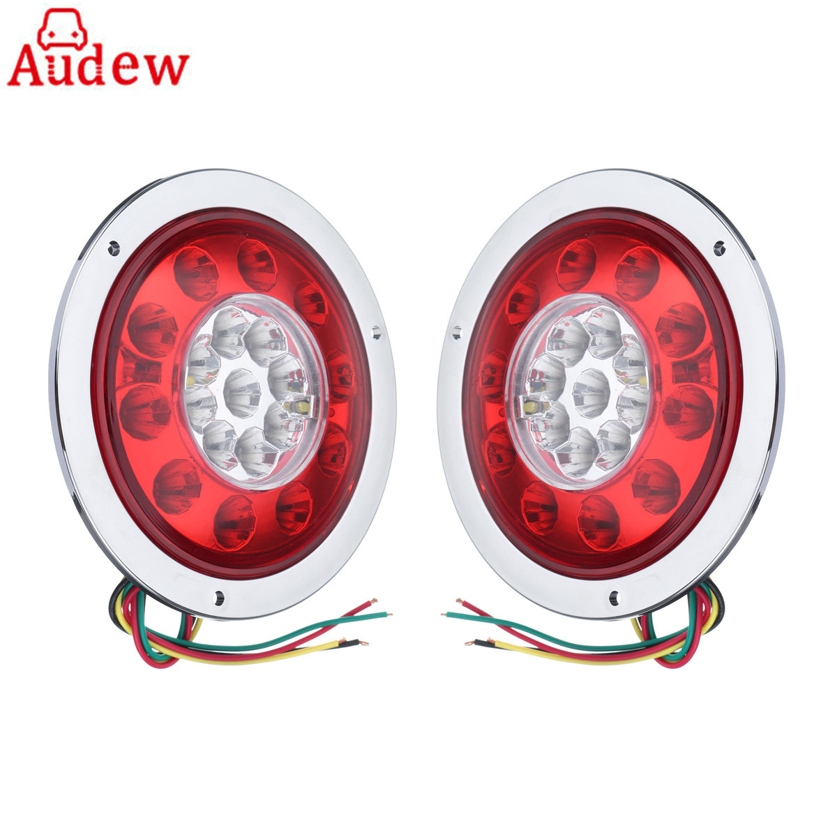 2pcs Waterproof Car Trailer Truck 19 LED Round Tail Brake Light Turn Signal Stop Light Side Lamp Yellow&Red