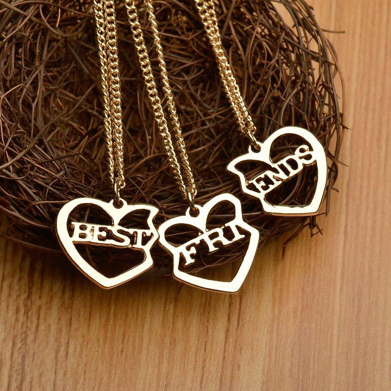 Fashion 3 pcs/Set Heart Shaped Best Friends Necklace friendship Pendant Necklace Friend Gift Collar Necklace