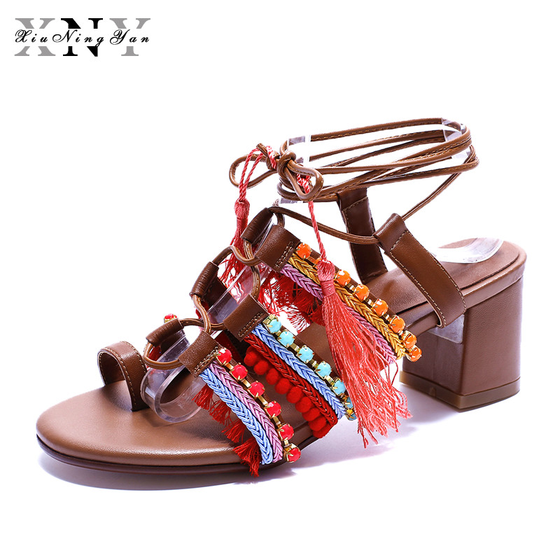 XiuNingYan Women Sandals Summer Genuine Leather Mixed Color Gladiator Sandals Women Square Heel Rome Shoes Women Big Size 33-43