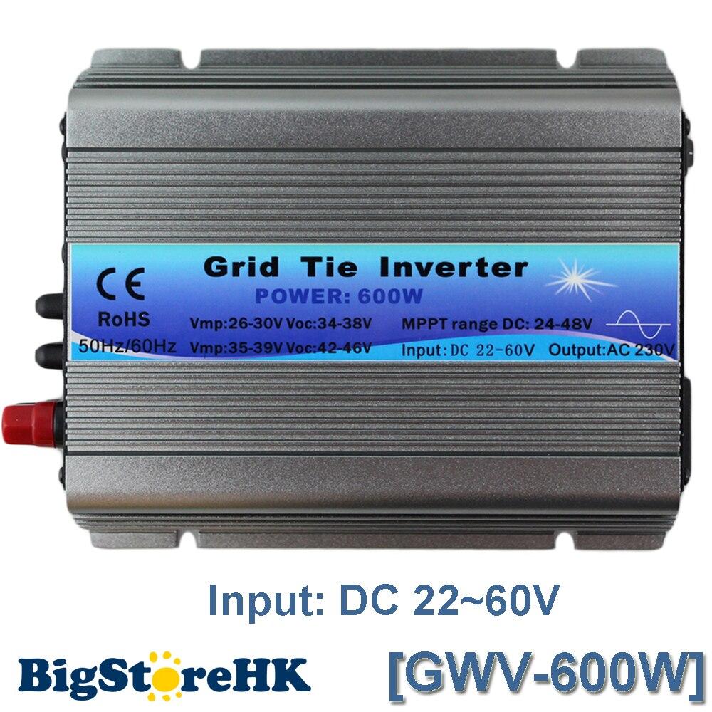 MPPT Fonction 600 W sur onduleur de raccordement au réseau 30 V 36 V Panneau 60 72 Cellules MPPT Sinusoïdale Pure Onduleur à Onde 110 V Sortie