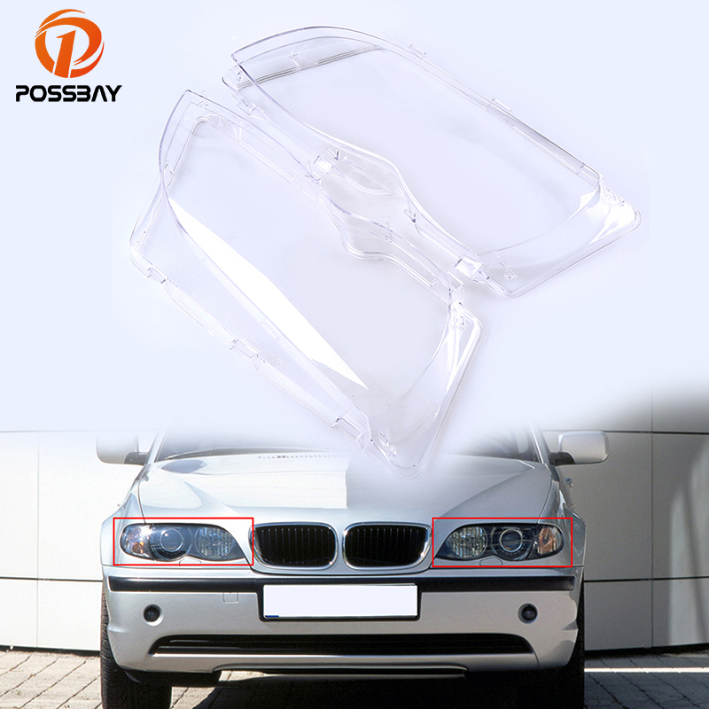 POSSBAY Car Headlamp Clear Lens Kit Replacement for BMW 3-Series E46 Wagon 2001-2006 Facelift Headlight Lenses Cover
