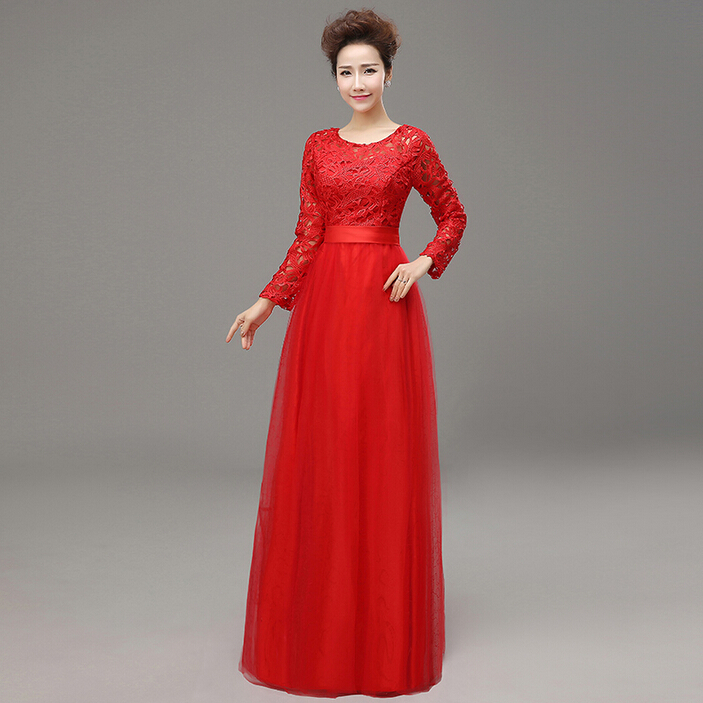 Women Long Sleeves Red Sleeve Evening Gowns Size 4 Formal Wear Woman Dress Womens Dresses For The Wedding Party W2826 In From Weddings