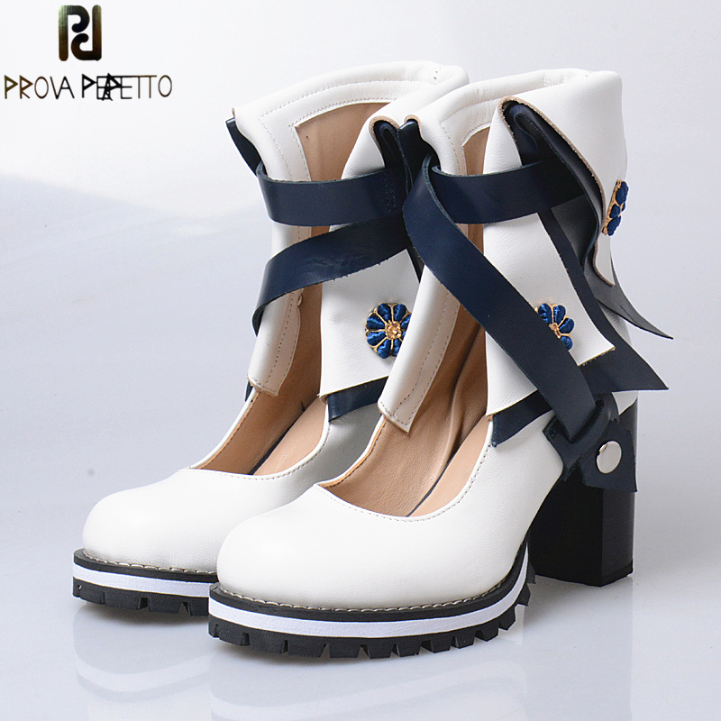 Prova Perfetto 2017 New Design British Academic Style Chunky Hight Heel Hollow Out Boots Mixed Colors Round Toe Retro Rome Shoes leisure women s peep toe shoes with hollow out and chunky heel design