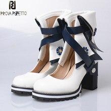 Prova perfetto 2017 novo design britânico estilo acadêmico chunky altura calcanhar oco para fora botas cores misturadas dedo do pé redondo retro roma sapatos