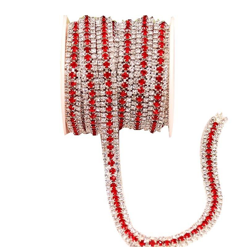 9 Цвет Высокое качество 1 ярд 3 рядами кристаллов AB стеклянная цепочка с искусственными камнями цвет серебристый, Золотой базы коготь швейная клей на одежда Strass дрель