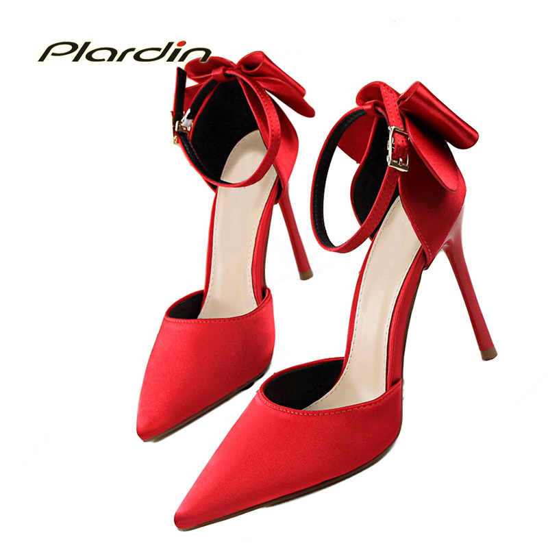 plardin New Shoes Woman Sweet Ankle Strap Butterfly-knot Shallow Pointed Toe D'Orsay&Two-piece woman Thin Heels women Pumps plardin new summer shoes woman zipper ankle strap platform women buckle strap fashion casual concise thin heels women s pumps