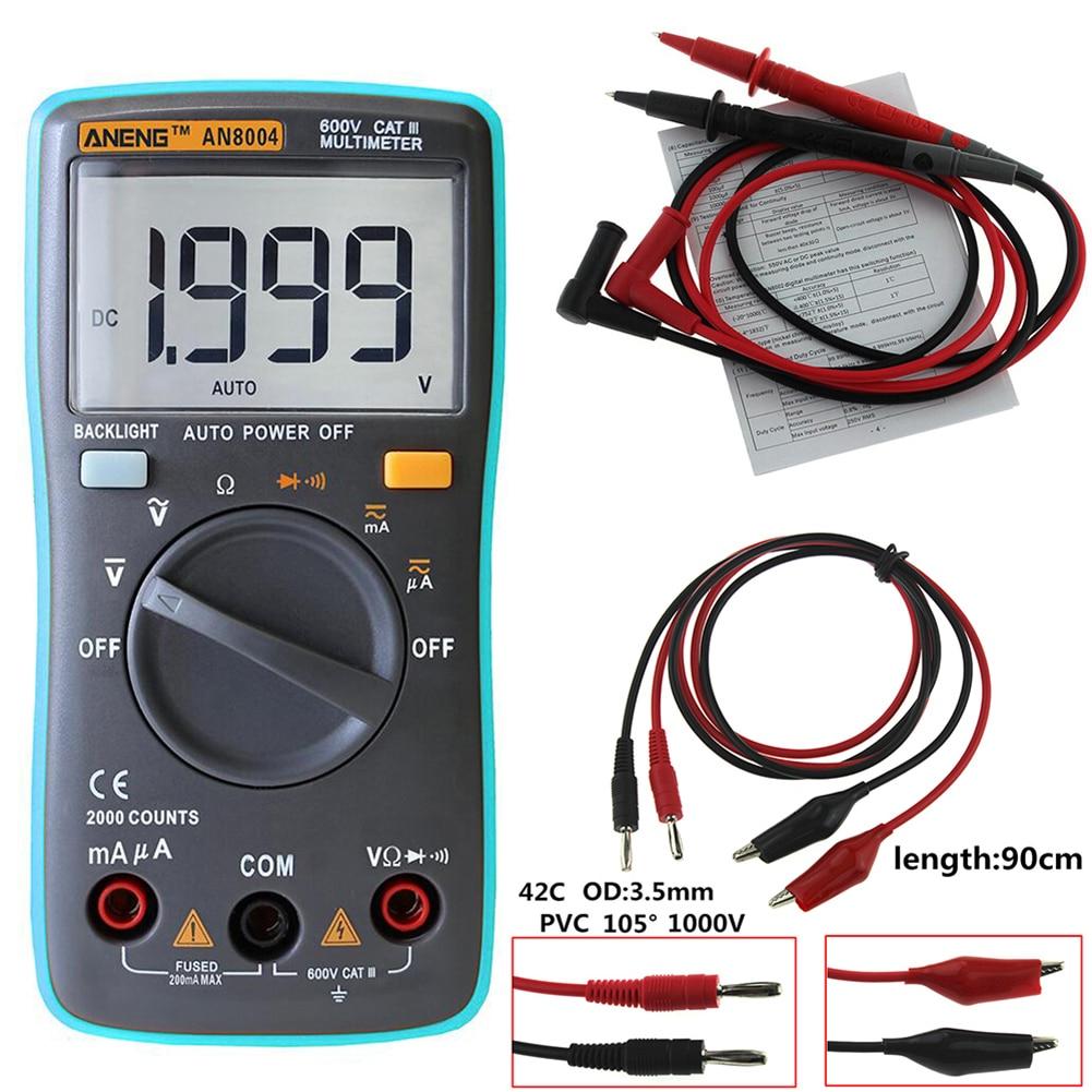 1999 points LCD numérique multimètre AN8004 voltmètre ampèremètre résistance testeur DC/AC 750/1000 V et volt ohmmètre avec cordon