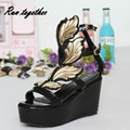 New summer fashion sexy Personality wings women wedge sandals buckle casual Gladiator Ankle Strap shoes woman size 35-41