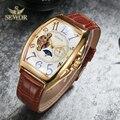 SEWOR люксовый бренд для мужчин s Symphony glass Mirror Tourbillion механические Автоматические часы для мужчин Moon Phase модные спортивные часы C342