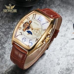 SEWOR 2019 New Fashion Luxury Brand Tourbillion Mens Automatic Mechanical Military Leather Men Sport Wrist Watch Gift C342